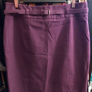 NY&CO Plum Belted Pencil Skirt
